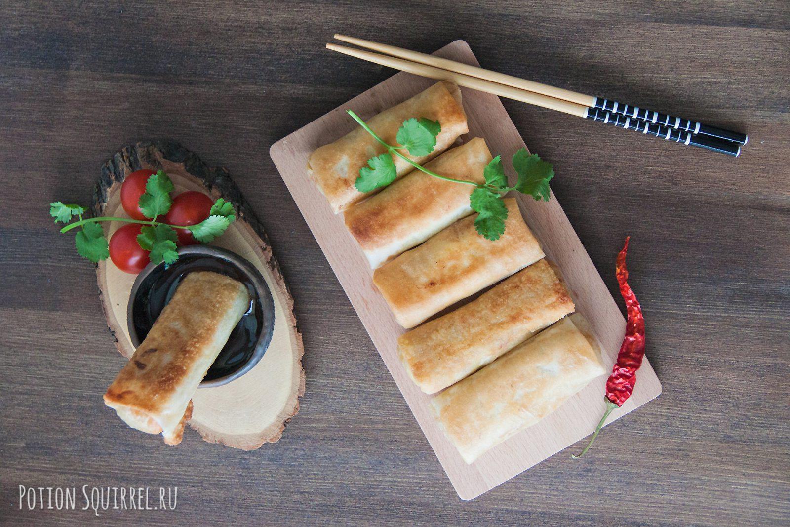 Хрустящие спринг-роллы с тушеными овощами. Рецепт от potionsquirrel.ru