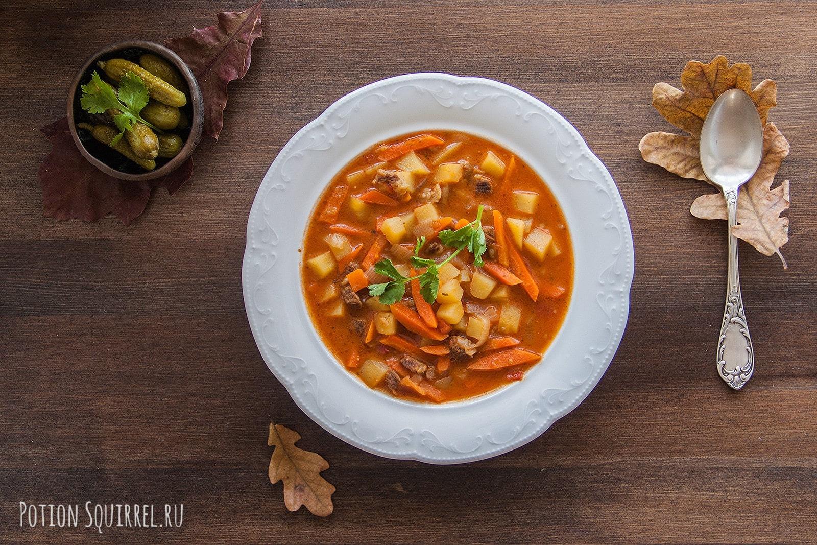Венгерский суп гуляш. Фото, ингридиенты и пошаговый рецепт от potionsquirrel.ru