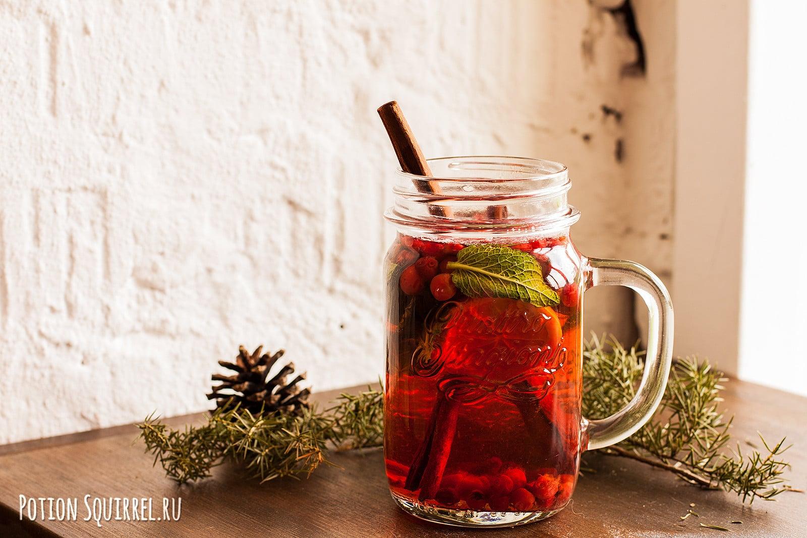 Яркий и необычайно вкусный чай с брусникой от potionsquirrel.ru