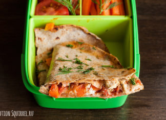 Lunch from quesadilla with chicken and fresh vegetables from potionsquirrel.ru