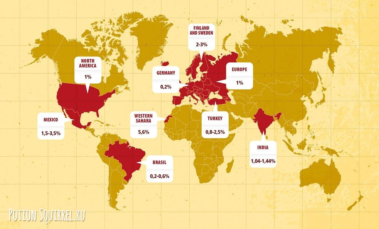 Карта статистики заболеваний целиакией в мире