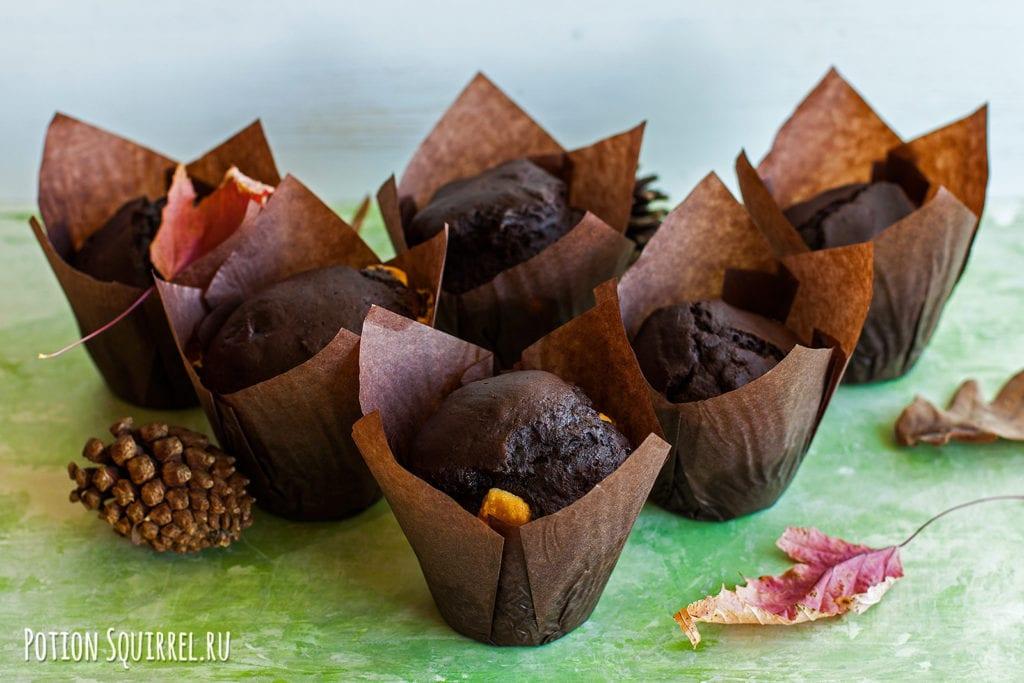 Рецепт шоколадных маффинов с кусочками темного и белого шоколада от potionsquirrel.ru