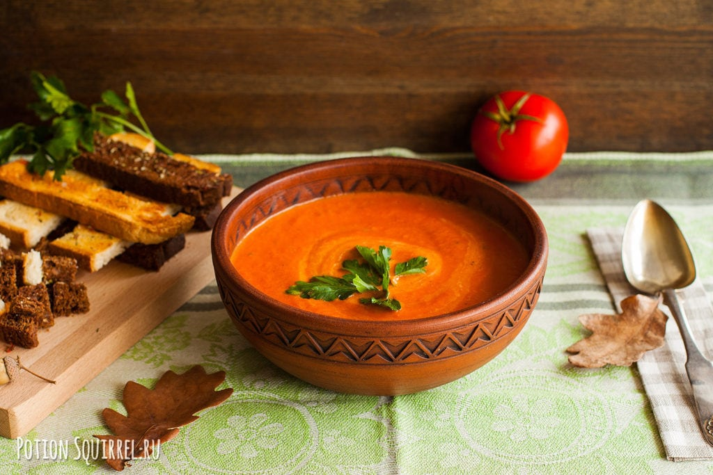 Томатный суп-пюре по классическому рецепту от potionsquirrel.ru