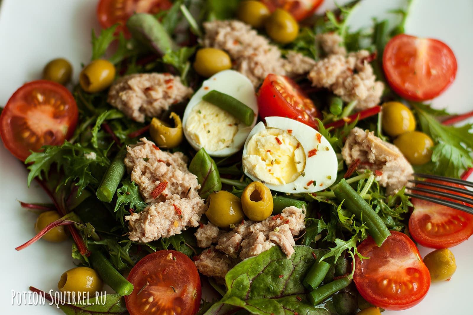 Идеальный летний салат с консервированным тунцом Нисуаз от potionsquirrel.ru