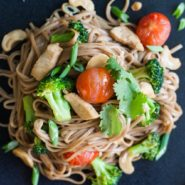 Noodles with chicken, broccoli and cashews