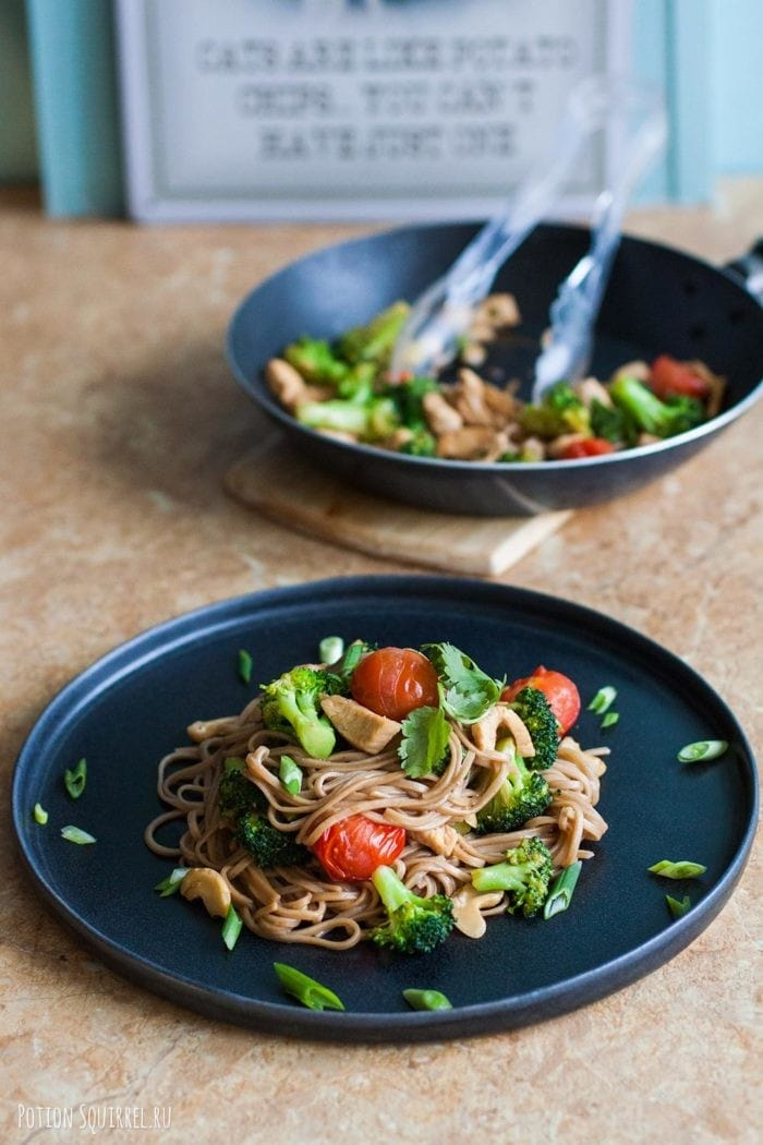 Quick noodles with chicken, broccoli and cashews recipe from potionsquirrel.ru